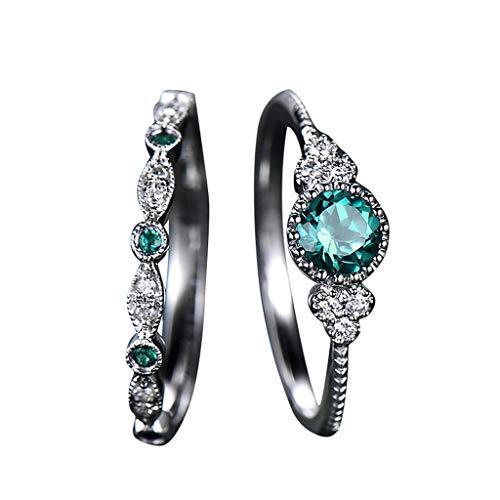 Ringe,2pcs funkelnde natürliche Edelstein-Ring-gesetzte Frauen-Smaragd-Saphir-Hochzeits-Ringe,ring gold damen esprit,Silber, (Silber Ring Ewigkeit Granat)