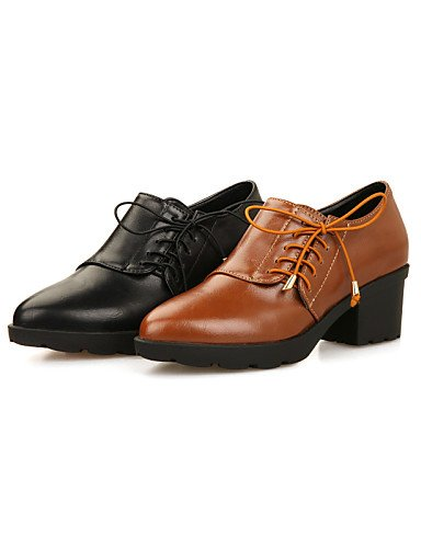 ZQ Scarpe Donna - Stringate - Tempo libero / Ufficio e lavoro / Formale / Casual - Comoda / A punta - Quadrato - Finta pelle - Nero / Marrone , brown-us8 / eu39 / uk6 / cn39 , brown-us8 / eu39 / uk6 / brown-us7.5 / eu38 / uk5.5 / cn38