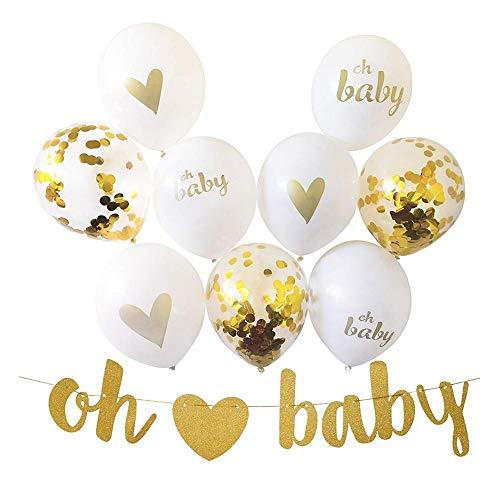 12 Zoll Luftballons gold Latex Ballons Pailletten Ballon für Baby Dusche Taufe Neugeborene Geburtstag Party Luftballons, oh Baby Tinte Gold Pailletten Ballon Set