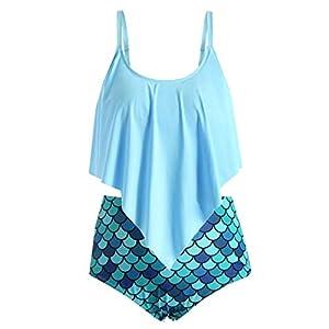 Damen Bademode Push Up Bikini Set Zweiteilige Rüschen Tops Fischschuppen Drucken Hohe Taille Bademode Split Tankini Badeanzug