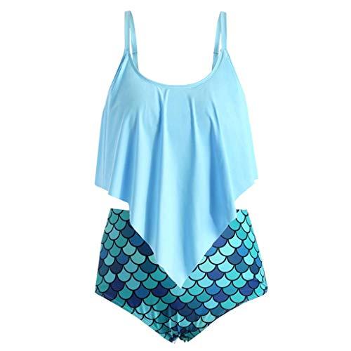 Damen Tankini, große Größe, Fischschuppe, Badeanzug für Strand, Übergröße S-3XL, bunt, ärmellos, 2 Stück -