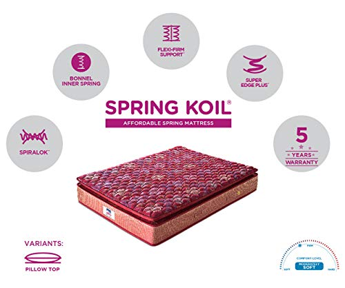 Peps Springkoil Bonnell Pillow Top 6-inch Queen Size Spring Mattress (Maroon, 75x60x06) With Two Free Pillow Image 6