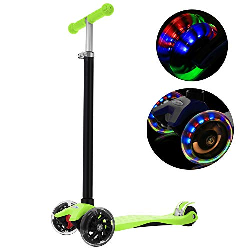WeSkate Kinderscooter Kinderroller, höhenverstellbarer und Abnehmbarer Lenker Kick Roller Tret-Roller mit PU Rädern, mit 4-blinkenden Rädern, 2-Rädern Hinterbremsen