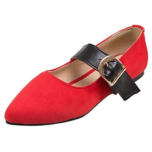 TAOFFEN Donna Classiche Mary Jane Scarpe Red