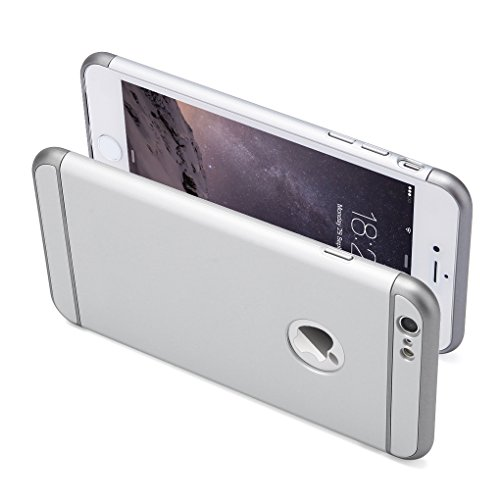 iPhone 6S Hülle,3 in 1 Ultra Slim hart Hülle Anti- rutsch Matte Oberfläche Grenze für iPhone 6(4.7 '')(2014) und iPhone 6S (4.7 '')( 2015) Silber