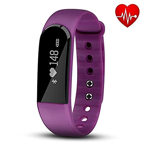 Fitness Tracker with Heart Rate Monitor, Hembeer Venus V3 Smart Bracelet Pedometer Activity Tracker Sleep monitor Bluetooth 4.0 Wristband with app for iOS & Android Smartphone, Purple