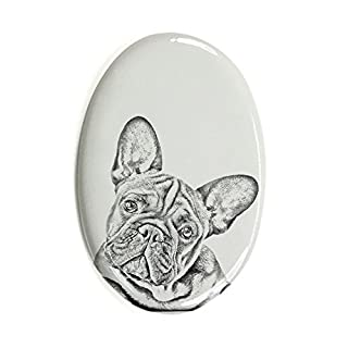 ArtDog Ltd. Französische Bulldogge, Oval Grabstein aus Keramikfliesen mit Einem Bild eines Hundes