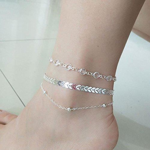 TAOtTAO Gold Silber Knöchel Armband Frauen Fußkette Einstellbare Kette Fuß Strand Schmuck-Set (Silber)