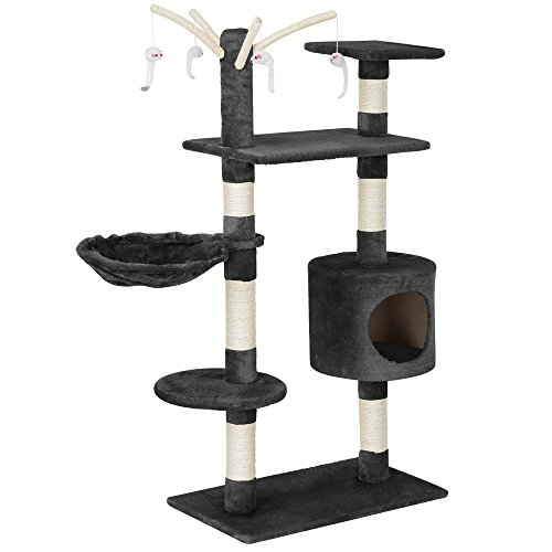 [en.casa] Rascador para gatos (65 x 35 x 130 cm aprox.)(gris) varios niveles / Sisal / con juegos, cueva y hamaca
