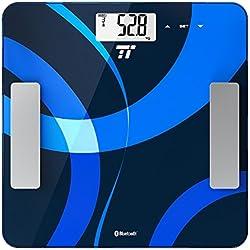 Bilancia pesapersone digitale TaoTronics bilancia Peso bilancia con connettività App per misurare di peso, BMI, grasso, acqua, muscoli, Massa ossea, BMR, AMR