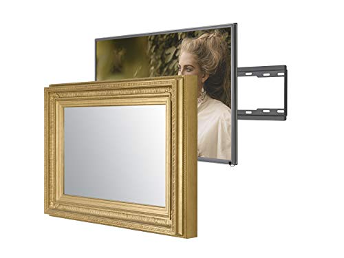 Handmade Framed Mirror TV with Samsung to Blend This Hidden Mirrored Television into Your Home or Business Decor (49 Inch, Regency Gold)
