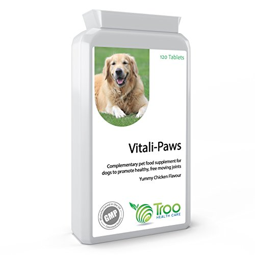 Vitali-Paws Dog Glucosamine Complex Joint Supplement – with Chondroitin, MSM, Green Lipped Mussel & Glucosamine for Dogs – 120 Easy Feed Chicken Flavoured Tablets – UK Manufactured GMP Guaranteed Quality