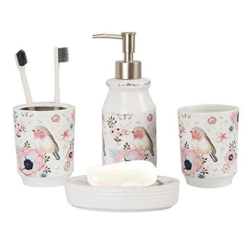 MengCat 4 Stück Badezimmerzubehör aus Keramik, Lotionspender, Zahnbürsten-Halter, Tumbler und Seifenschale Rosa Flamingo Einweihungsparty Geschenk (Vogel und Blume)