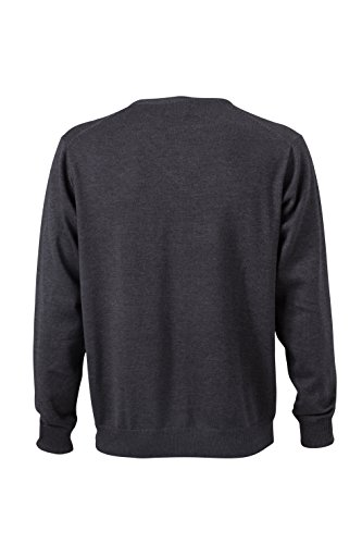 James & Nicholson Herren V-Neck Pullover Grau (Anthracite-Melange)