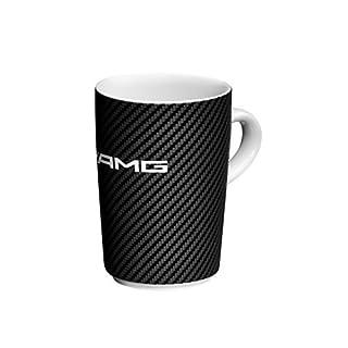 Mercedes-Benz, AMG, Kaffeebecher weiß / schwarz, Porzellan, Chromoptik