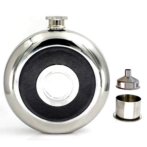 oz Edelstahl Flachmann Flasche Geschenk Set mit integriertem Shot Glas und Trichter für Frauen Herren-rund Leder Schlaufe-schwarz ()