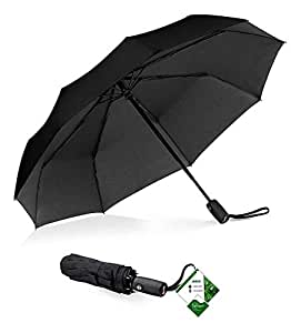 "Compact""Teflon"" Fast Drying Travel Umbrella, Reinforced Windproof Frame, Lifetime Replacement Guarantee, Auto Open/Close, Slip-Proof Handle for Easy Carry"