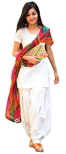 Clickedia Women\'s Semi Stitched Heavy Slab Cotton White Patiala Suit With Dupatta - Dress material