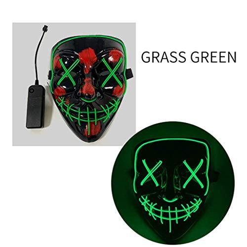 De alta calidad De Halloween LED Máscara V de la palabra con Blood Negro cara del fantasma Puntales fluorescente V palabra de máscara Horror (Color : Grass Green)