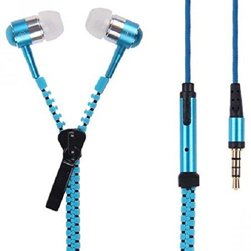 Reißverschluss-ohrhörer Mic (AGEG 3,5mm In-Ear Metall Earbuds Ohrhörer Superbaß Subwoofer Reißverschluss Stil Freisprechen mit Mikrofon Mic für PC Desktop iPhone und Android Handys (Blau))