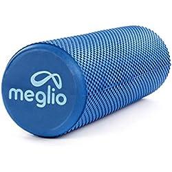 Meglio Rodillo de Masaje de Alta Densidad (45cm). Ideal para Masajes y Liberación Miofascial Fitness, Yoga, Pilates. Color Azul con guía de Ejercicio Gratis