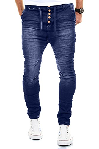 Merish Jeans Uomo Pantalone Cavallo Basso Slim Fit Sportivi Denim Modell J3012 Blu 31/32