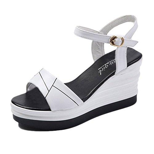 Donna estivi scarpe sandali zeppa fascia tacchi alto sandali con plateau scarpe all'aperto bianco