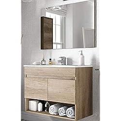 Meuble Salle de Bain Suspendu 80 cm 2 Portes tiroir Bois Miroir lavabo céramique