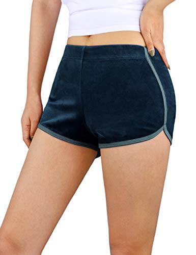 DISHANG Pantalones Cortos de Yoga para Mujer Terciopelo Informal, Pantalones de Running elásticos Pantalones Cortos Deportivos para Todas Las Estaciones (Blazer Azul Marino, S)