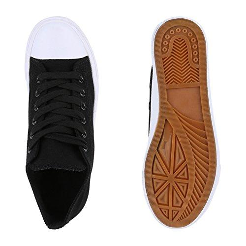 Damen Sneakers Sportschuhe Sneaker Low Denim Stoffschuhe Blumen Camouflage Flandell Schwarz Weiss Weiss