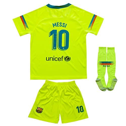 MFG 2018/2019 Barcelona #10 Messi Auswärts Kinder Fußball Trikot Hose und Socken Kindergrößen (24 (6-7 Jahre))