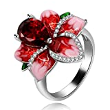 Uloveido Fashion Bloom Anillo de cóctel Floral para Mujer Anillo...