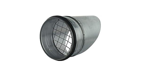 MKK Aussenhaube Ausblasstutzen Wickelfalzrohr 45/° Abluft Zuluft EPDM Dichtung Wetterschutz Gitter /Ø 100 mm