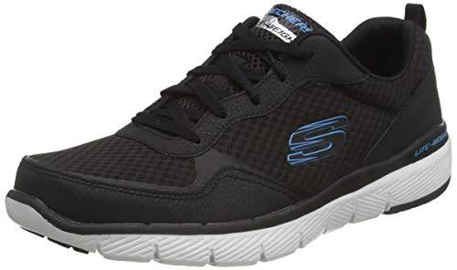 Skechers Flex Advantage 3.0 52954, Zapatillas para Hombre, Negro (Black Leather/Mesh/Trim Blk), 42 EU