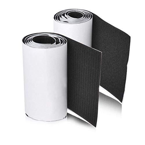 MARCHONE Klettband Klettverschluss Selbstklebend Schwarz mit 1 Meter Länge und 110mm Breite
