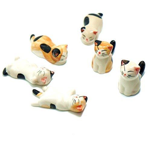 Butterme Heißer Verkaufs Satz von 6 japanischen Keramik Cat Stäbchen Löffel und Gabeln Messerhalter Rack Praxis Einrichtungsartikel (Cat-löffel Rest)