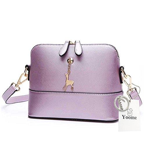 Yoome Cross Pattern Little Cervo Ciondolo Retro Trucco Sacchetto Borsa Medio Sacchetto Borsa in pelle - Navy Pearly Purple