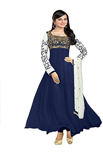 Clickedia Women Faux Georgette Semi-Stitched Anarkali Suit (30008-Navy Blue)  available at amazon for Rs.599