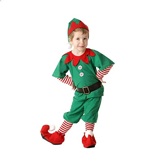 thematys Elfen-Kostüm Weihnachtskostüm - Wichtel Weihnachtself Kostüm für Damen, Herren & Kinder - perfekt für Weihnachten, Karneval & Cosplay (130cm bis 140cm, Männlich) (Bis Kostüm Kind)