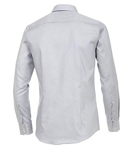 Venti - Slim Fit - Herren Langarm Hemd aus 100% Baumwolle mit Kent Kragen in verschiedenen Farben (172678600) Silber (700)