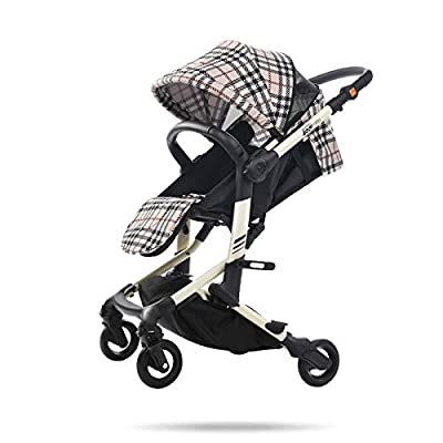 AMENZ Stroller Pushchair Carrycot Pram cart Bidirectional Travel System fold Two Way Weather Protection Cover with Reclining Backrest for 1 Month 4 Years Old - Beige