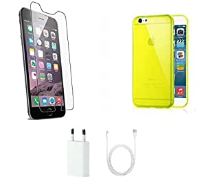 High Quality Temper Glass Screen Guard, Yellow Transparent Back Cover, Charge...