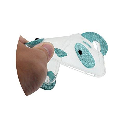 3D Mignon Panda Forme Souple Silicone Transparent Housse Etui de Protection Case pour Apple iPhone 6 / 6S 4.7 inch Mince et léger cyan