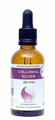 Premium Quality Colloidal Silver 20 ppm Dropper Bottle 50ml High pH 9.0