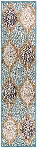 Schlafzimmer Dekorationen Marokkanische (Designer moderner flachgewebter In- & Outdoor Carpetforyou Teppich Leaves On Sand 3D Effekt geometrisch marokkanisch grün beige braun in 4 Größen für Wohnzimmer Jugendzimmer und Terrasse (76 x 300 cm))