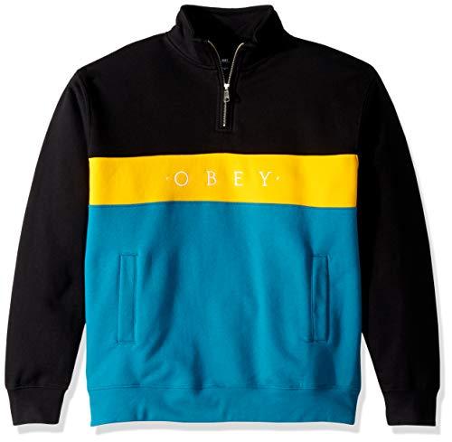 Obey Herren Chelsea Mock Neck Zip Fleece Pullover, Schwarz/Mehrfarbig, Mittel Zip Neck Fleece Pullover