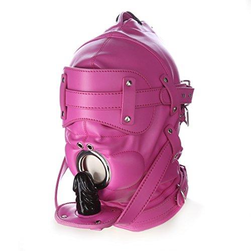 FeiGu Hot Pink Leder Bondage Gimp Maske Kopf Kapuze mit 2 Nasen Löcher T6