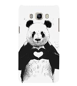 Panda with Heart Sign 3D Hard Polycarbonate Designer Back Case Cover for Samsung Galaxy J7 (6) 2016 Edition :: Samsung Galaxy J7 (2016) Duos :: Samsung Galaxy J7 2016 J710F J710FN J710M J710H