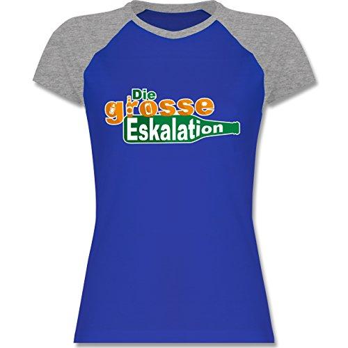 Festival - Die große Eskalation - zweifarbiges Baseballshirt / Raglan T-Shirt für Damen Royalblau/Grau meliert