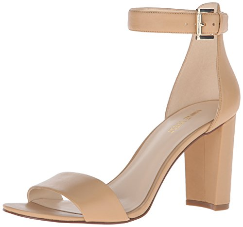 Nine West Womens Nora Leather Dress Sandal Light Natural Leather
